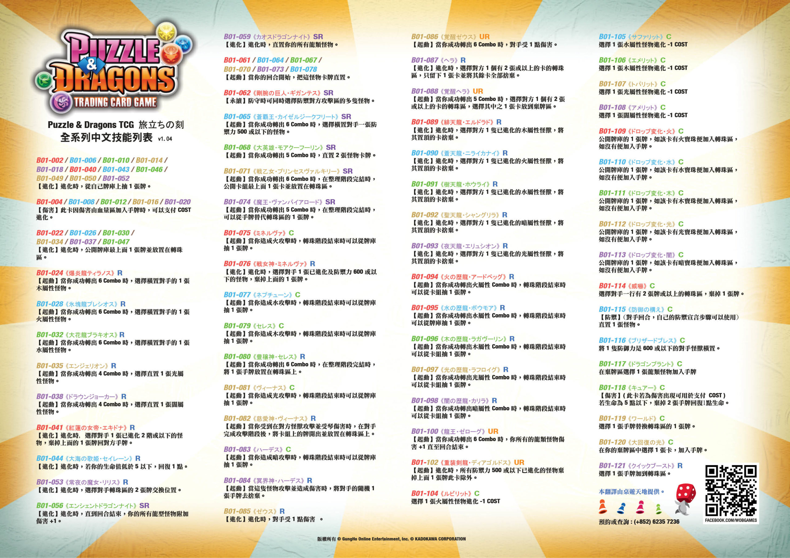 Puzzle & Dragons Cheat Sheet |香港桌遊天地Welcome On Board Hong Kong